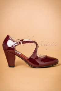 50s Lucille Laquer Pumps in Burgundy