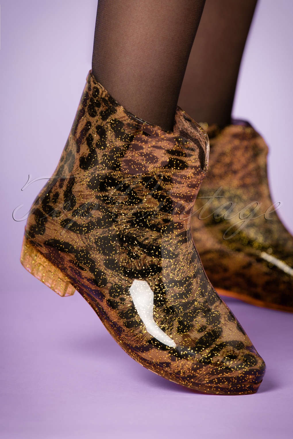 Vintage Style Shoes, Vintage Inspired Shoes 60s Leopard and Glitter Short Rain Boots £26.65 AT vintagedancer.com