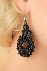 20s Baudine Earrings in Black