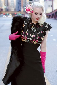 40s Florish A-line Dress in Black