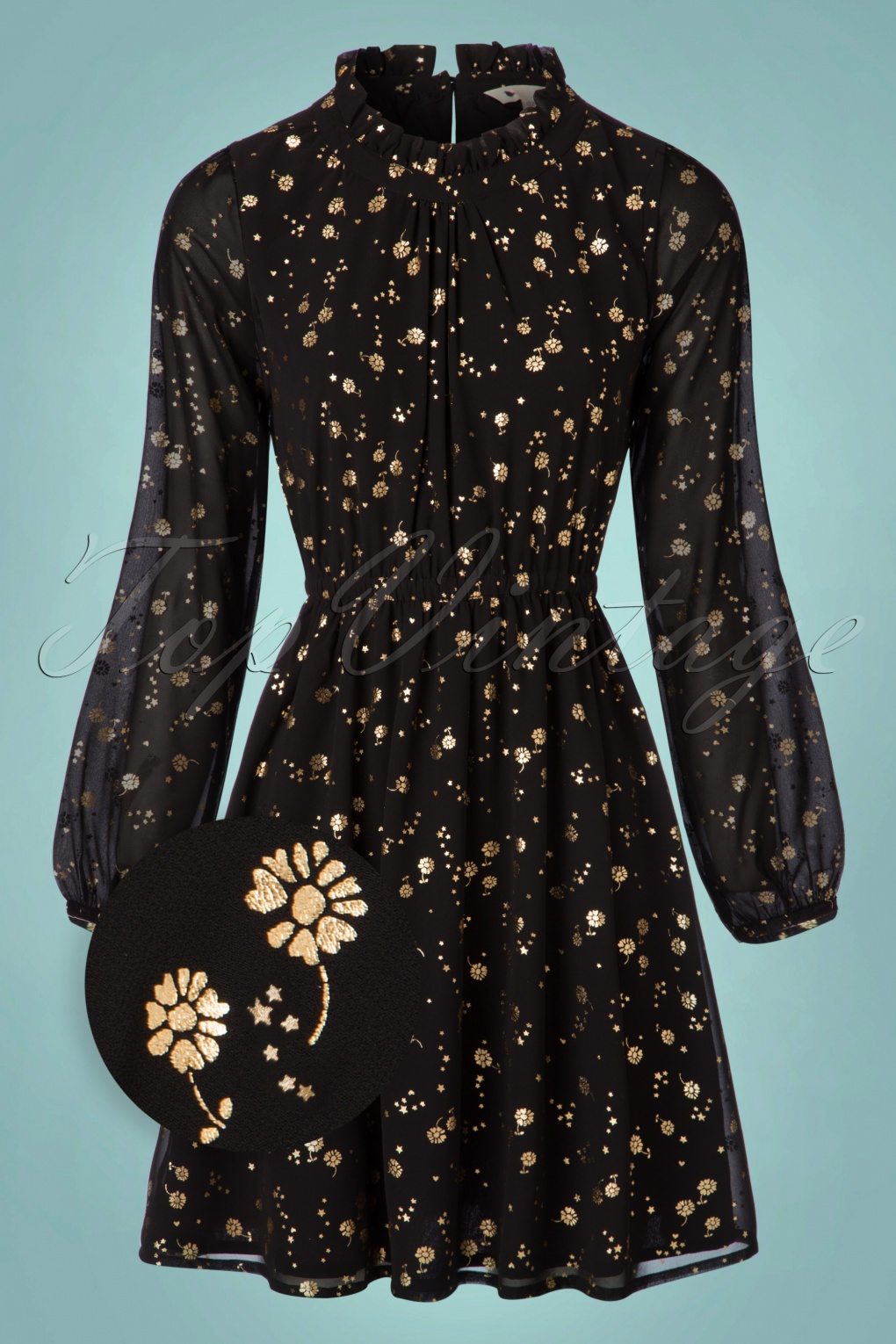 1960s – 70s Dresses- Retro Inspired Fashion 60s Ditsy Foil Dress in Black and Gold £80.04 AT vintagedancer.com