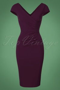 Vintage Chic Scuba Crepe Aubergine Pencil Dress 100 60 22689 20170123 0021w