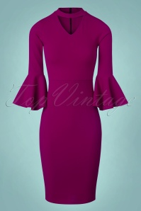 Vintage Chic Scuba Crepe Fill Sleeve Dress in Amaranth 100 60 22478 20171004 0005w