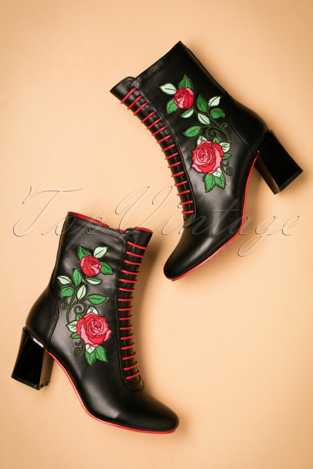 Vintage Style Shoes, Vintage Inspired Shoes 60s Fantasy Floral Booties in Black £85.38 AT vintagedancer.com