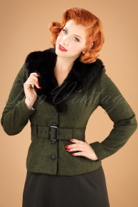 Collectif Clothing Molly Jacket in Green 21764 20170609 0022w