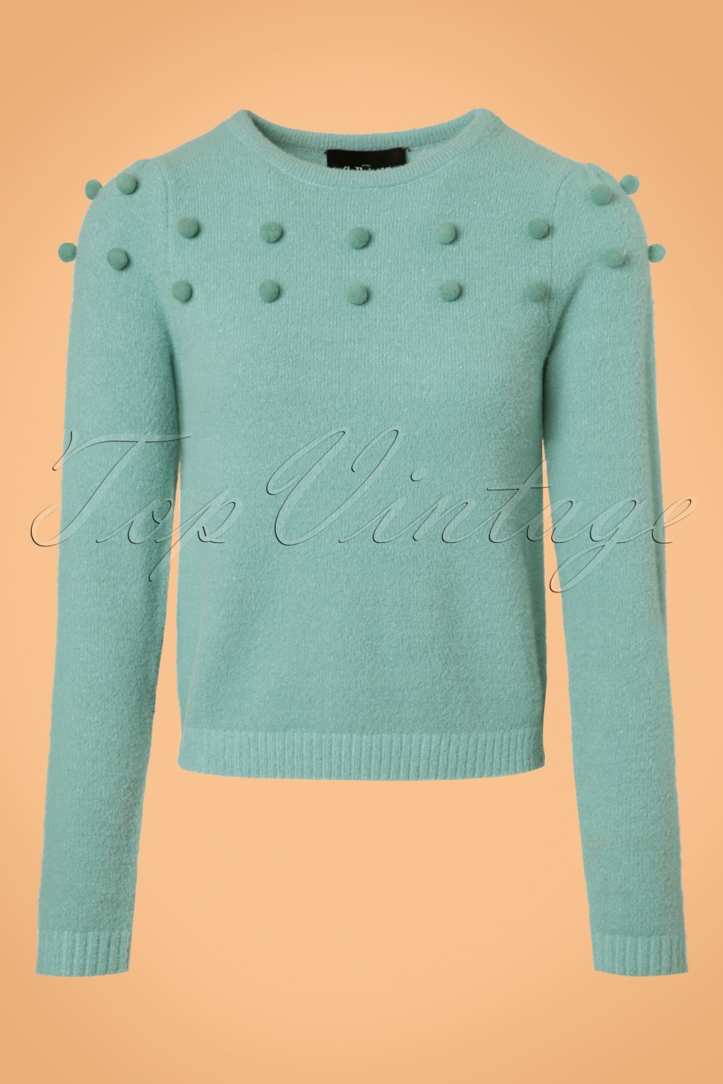 Vintage Sweaters: Cable Knit, Fair Isle Cardigans & Sweaters 50s Barbara Pom Pom Jumper in Mint Blue £51.51 AT vintagedancer.com