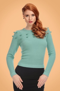 Collectif Clothing Barbara Pom Pom Jumper in Green 21772 20170607 0008