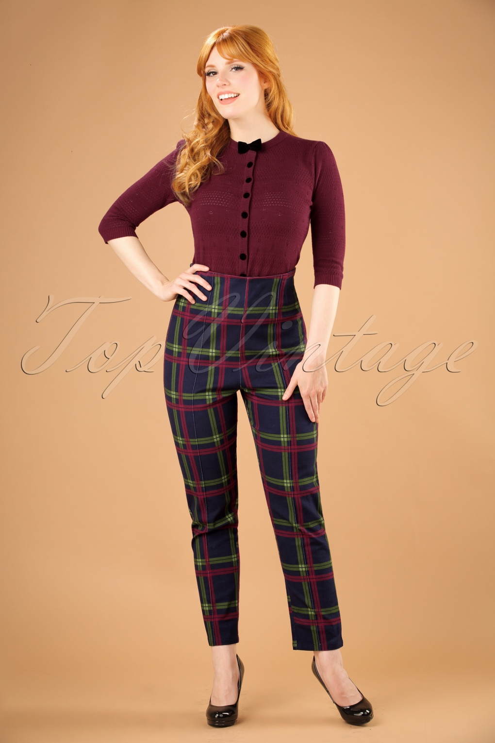 Vintage High Waisted Trousers, Sailor Pants, Jeans 50s Bonnie Darling Check Trousers in Navy £47.61 AT vintagedancer.com