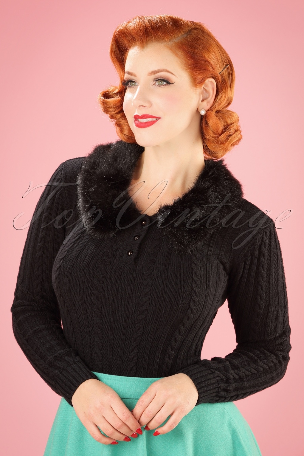 Vintage Sweaters: Cable Knit, Fair Isle Cardigans & Sweaters 40s Felicity Fur Collar Jumper in Black £59.51 AT vintagedancer.com