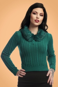 Collectif Clothing Felicity Fur Collar Jumper in Teal 21820 20170609 0013