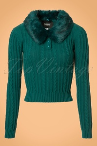 Collectif Clothing Felicity Fur Collar Jumper in Teal 21820 20170609 0004w