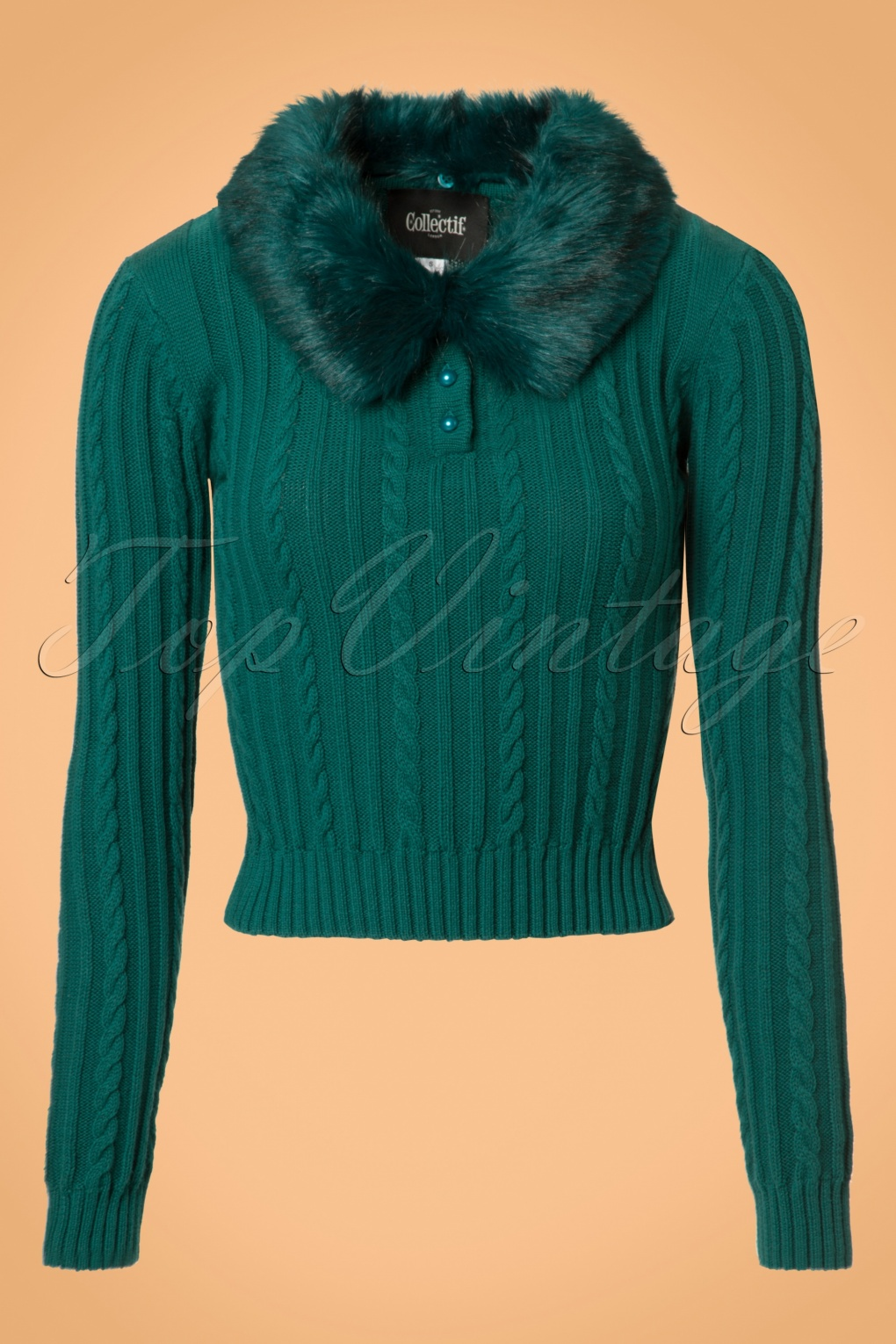 Vintage Sweaters: Cable Knit, Fair Isle Cardigans & Sweaters 40s Felicity Fur Collar Jumper in Teal £59.51 AT vintagedancer.com