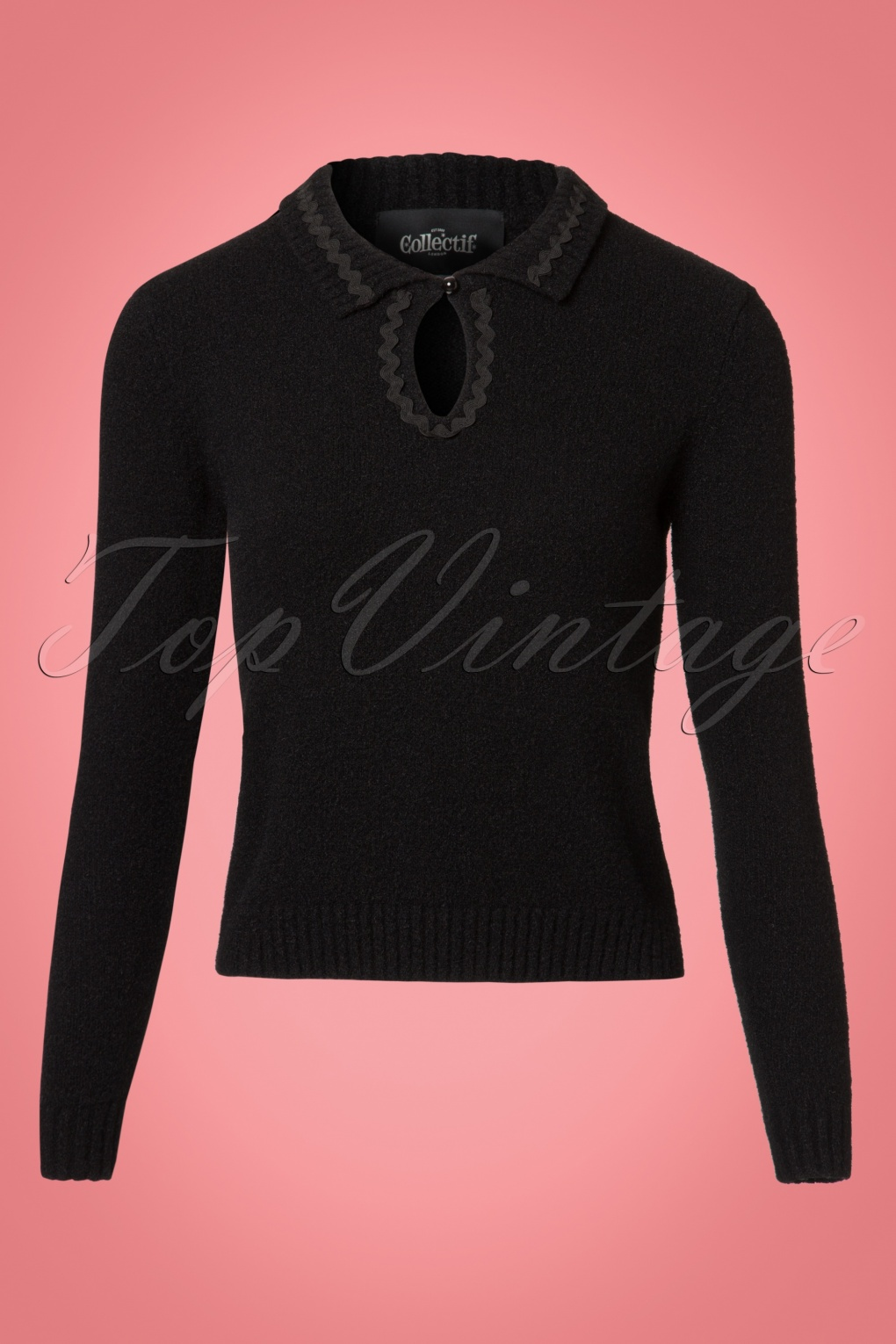 Vintage Sweaters: Cable Knit, Fair Isle Cardigans & Sweaters 40s Fatima Jumper in Black £44.40 AT vintagedancer.com