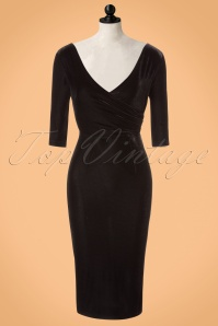Collectif Clothing Phyllis Velvet Black Pencil Dress 21971 20170614 0003pop