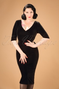 Collectif Clothing Phyllis Velvet Black Pencil Dress 21971 20170614 1W