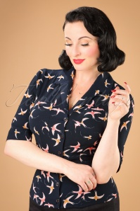 Collectif Clothing Aubrey Swallow Shirt in Navy 21954 20170607 0008w