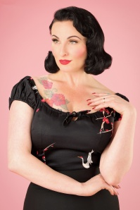 Collectif Clothing Lorna Cranes Top in Black 21948 20170607 0009