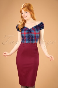 50s Polly Pencil Skirt in Wine Red