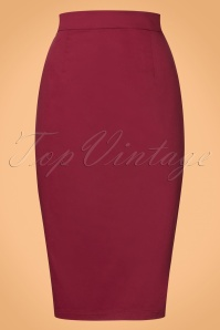 Collectif Clothing Polly Classic Wine Red Pencil Skirt 21898 20170606 0006w