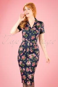 Collectif Clothing Caterina Bloom Floral Pencil Dress 21992 20170615 0008w
