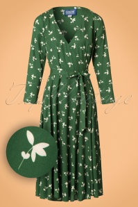 Collectif Clothing Willa Presed Floral Wrap Dress in Olive 21851 20170613 0020W1
