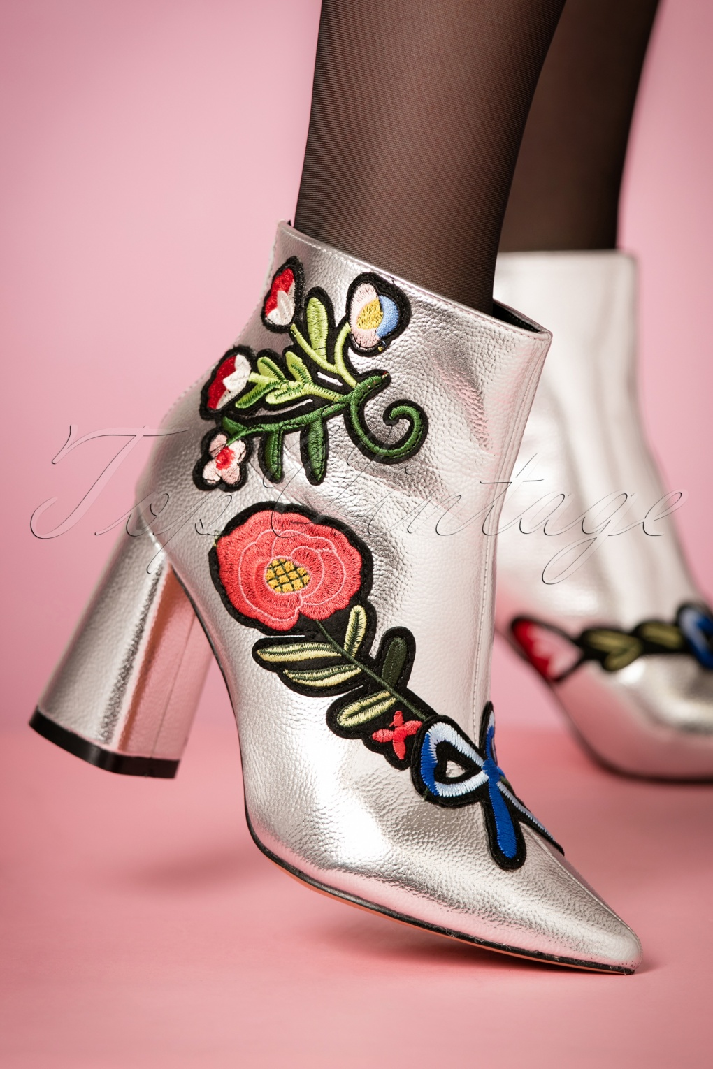 Retro Boots, Granny Boots, 70s Boots 70s Sassy Floral Booties in Silver £49.41 AT vintagedancer.com