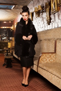 50s Agatha Faux Fur Cape Coat in Black