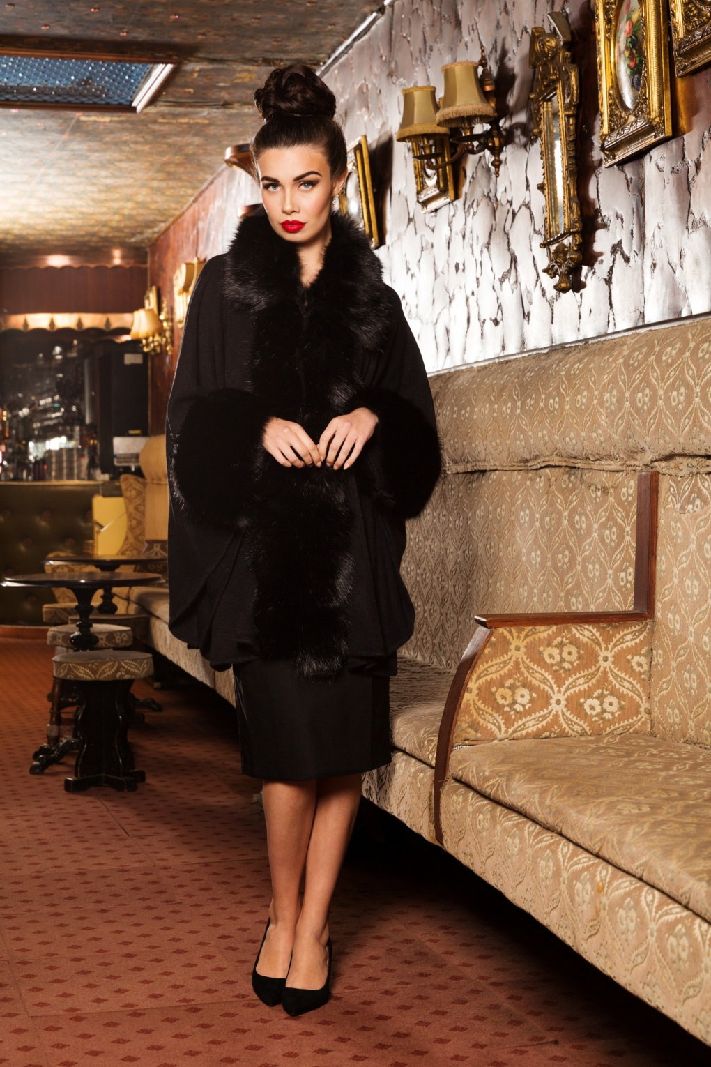 1950s Jackets, Coats, Bolero | Swing, Pin Up, Rockabilly 50s Agatha Faux Fur Cape Coat in Black £59.52 AT vintagedancer.com