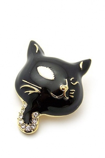 CAT BROOCHE BLACK