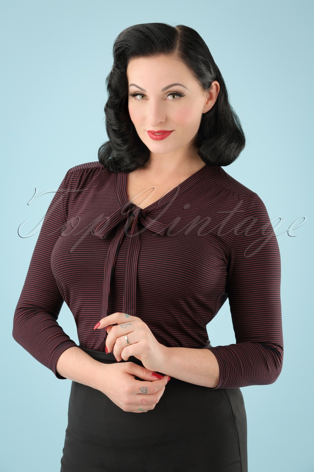 1960s -1970s Blouses, Shirts and Tops 60s Goldie Striped Bow Top in Dark Navy £48.89 AT vintagedancer.com