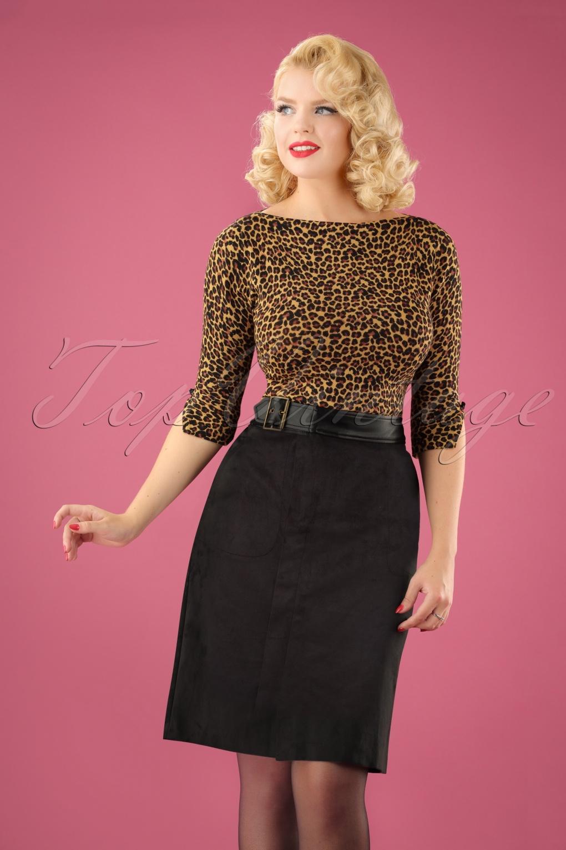 Retro Skirts: Vintage, Pencil, Circle, & Plus Sizes 70s Damai Suedine Pencil Skirt in Black £98.86 AT vintagedancer.com