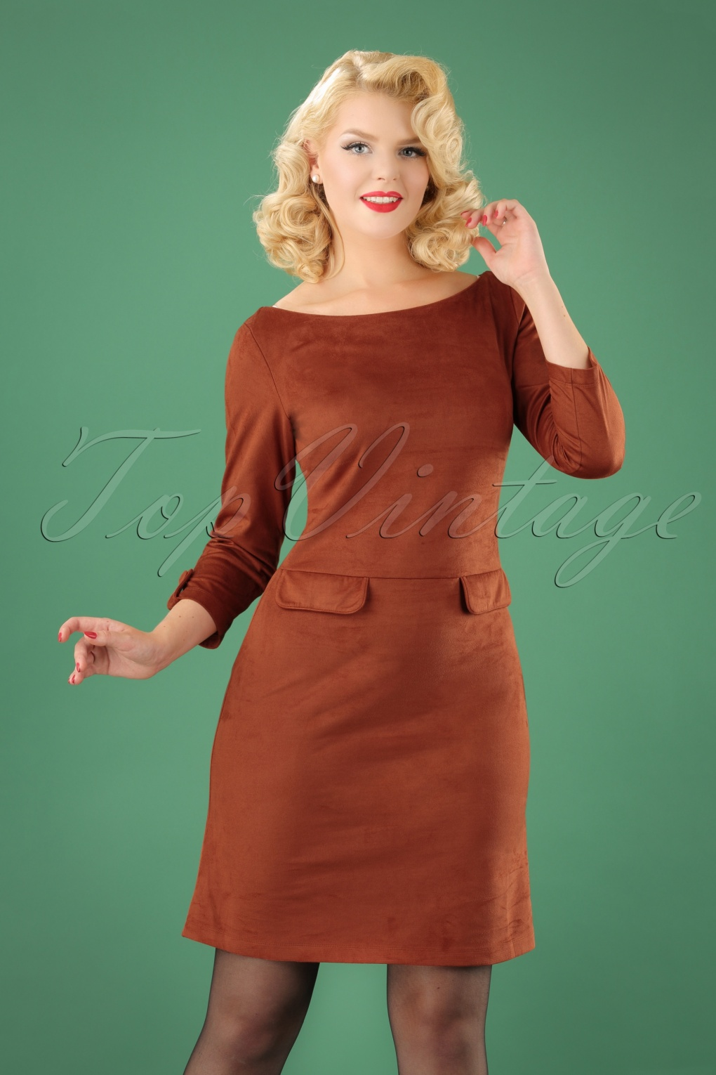 1960s – 70s Dresses- Retro Inspired Fashion 60s Dallin Suedine Dress in Rust £97.83 AT vintagedancer.com