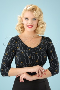 50s Bettys Best Tee All Night Long Top in Black