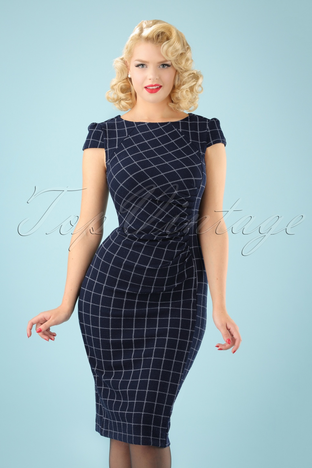1960s – 70s Dresses- Retro Inspired Fashion 60s Holly Highlands Pencil Dress in Navy £75.59 AT vintagedancer.com