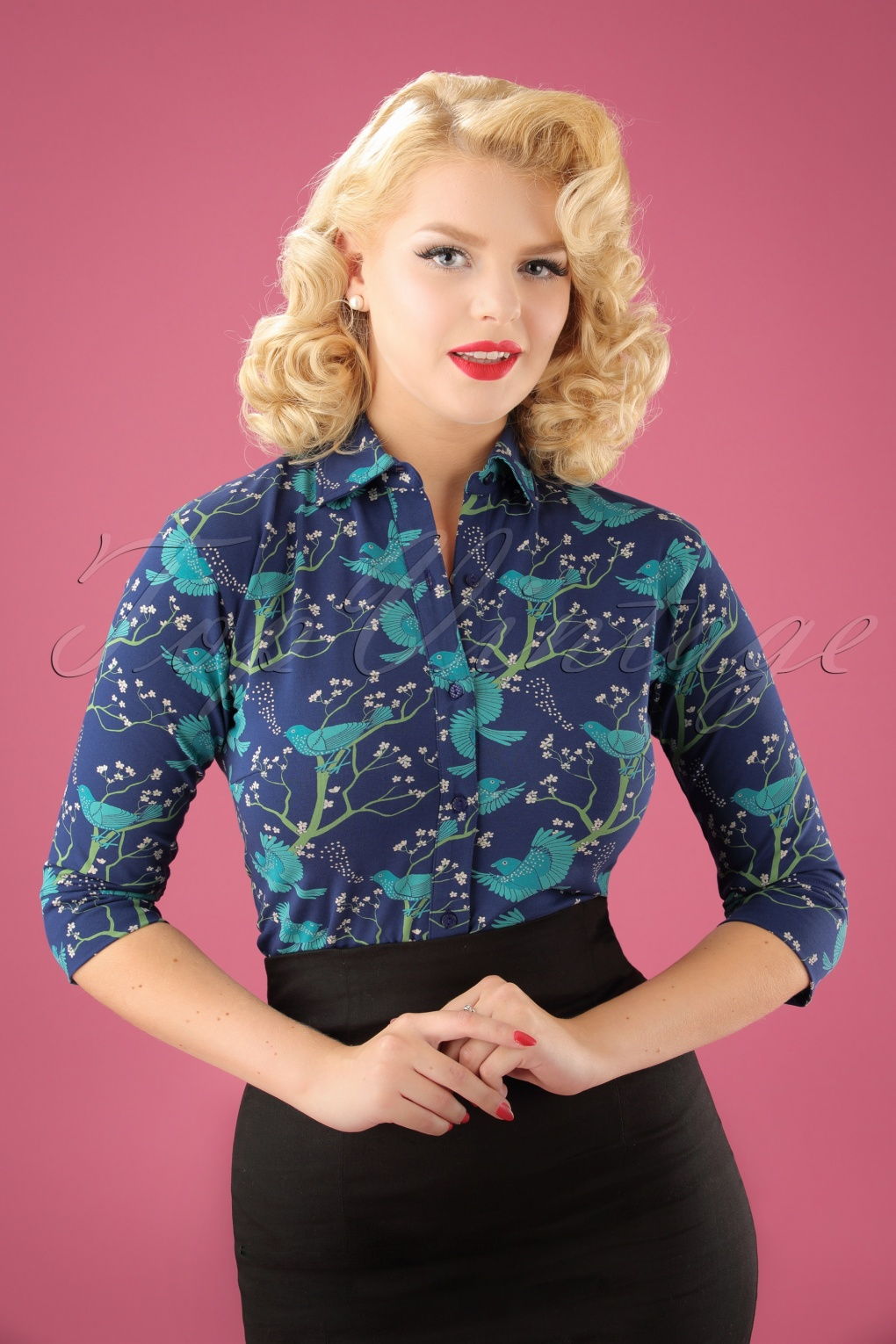 60s Shirts, Tops, Blouses | 70s Shirts, Blouses 70s Rather Be Blouse in Blue £62.89 AT vintagedancer.com