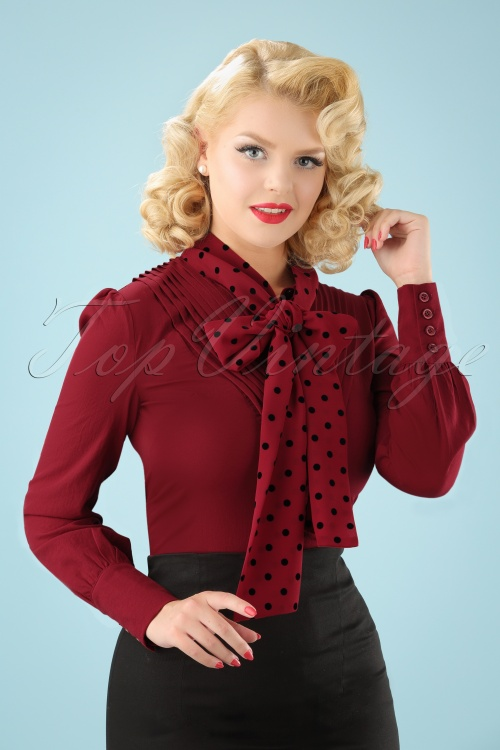 Banned Apparel Sent With Love Tie Neck Vintage Retro Polka Dot Blouse