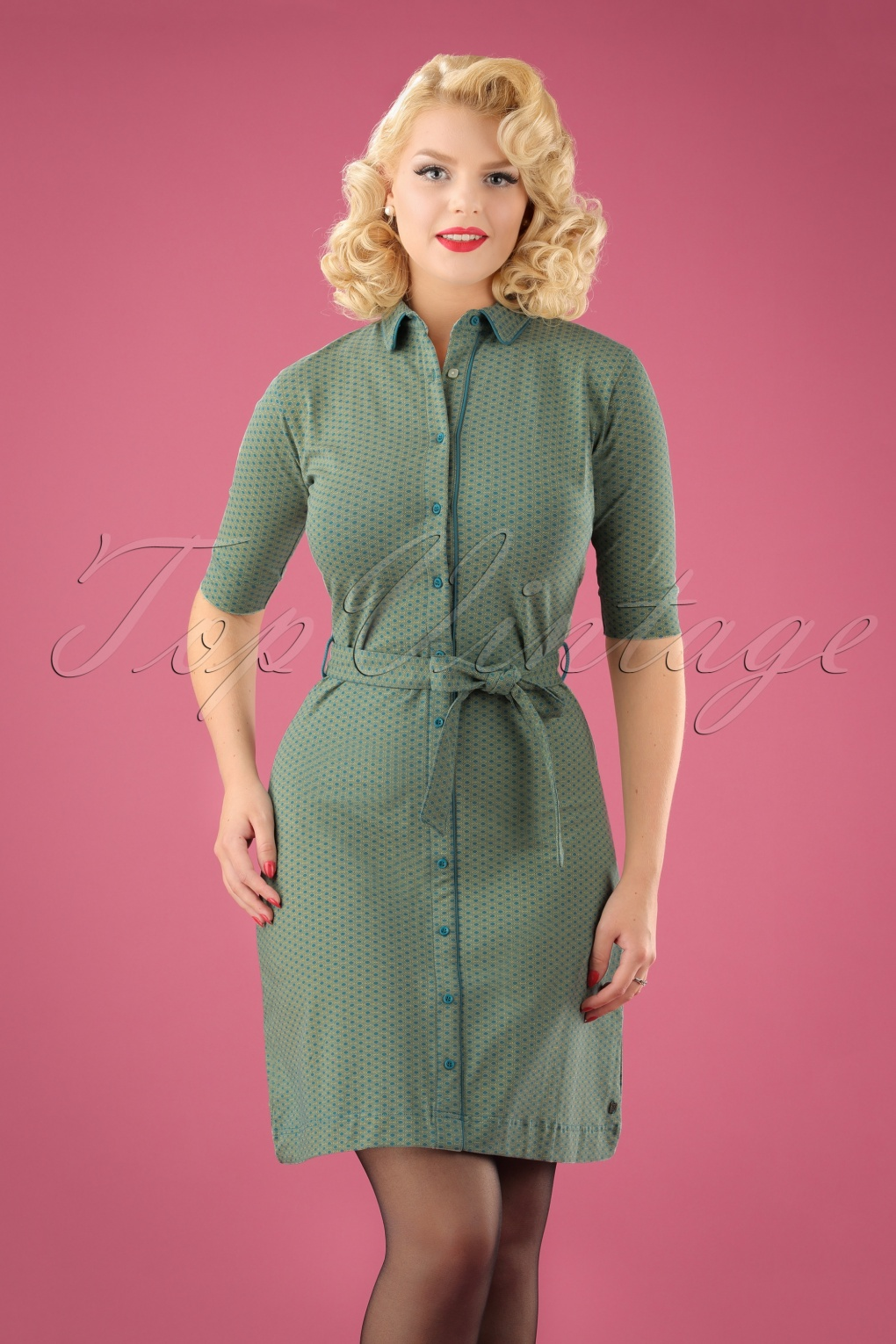 1960s – 70s Dresses- Retro Inspired Fashion 60s I Feel It Coming Dress in Blue £88.94 AT vintagedancer.com