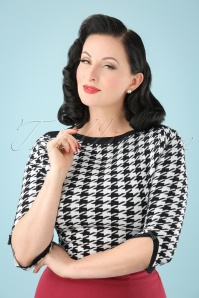 50s Izzy Top in Black and White
