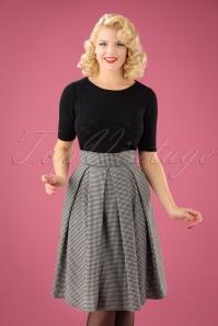 50s Izzy Swing Skirt in Black and White