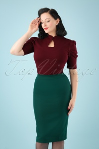 50s Paula Pencil Skirt in Teal