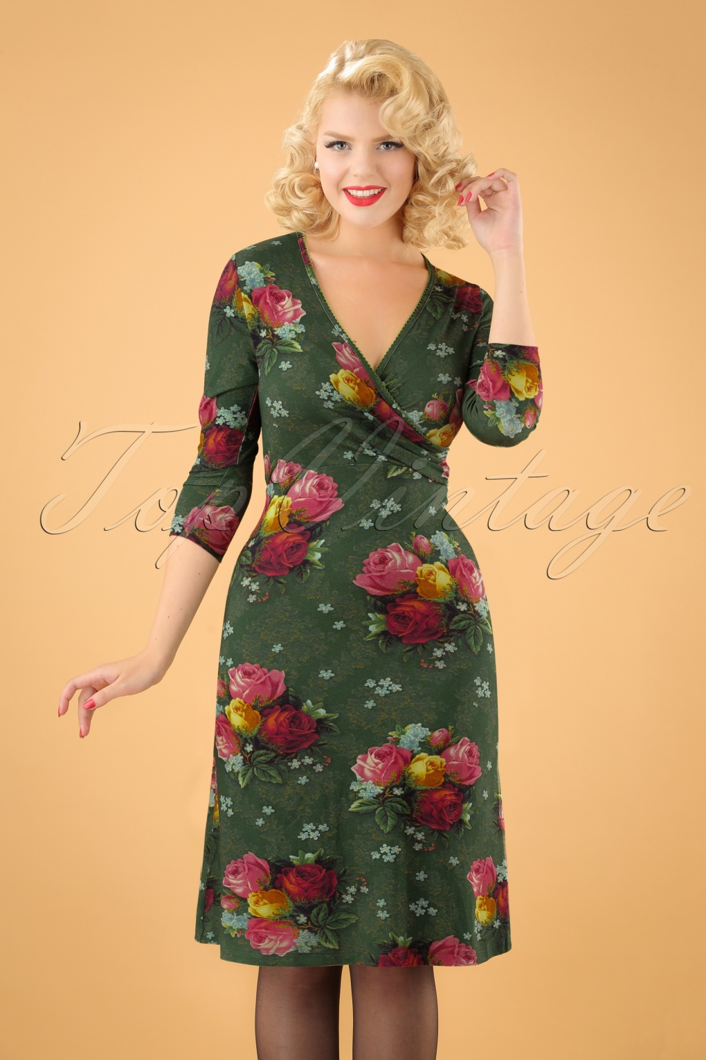 1960s – 70s Dresses- Retro Inspired Fashion 60s Dorothy Cross Dress in Bouquet Green £86.76 AT vintagedancer.com