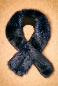 50s Kendall Faux Fur Scarf in Midnight Blue