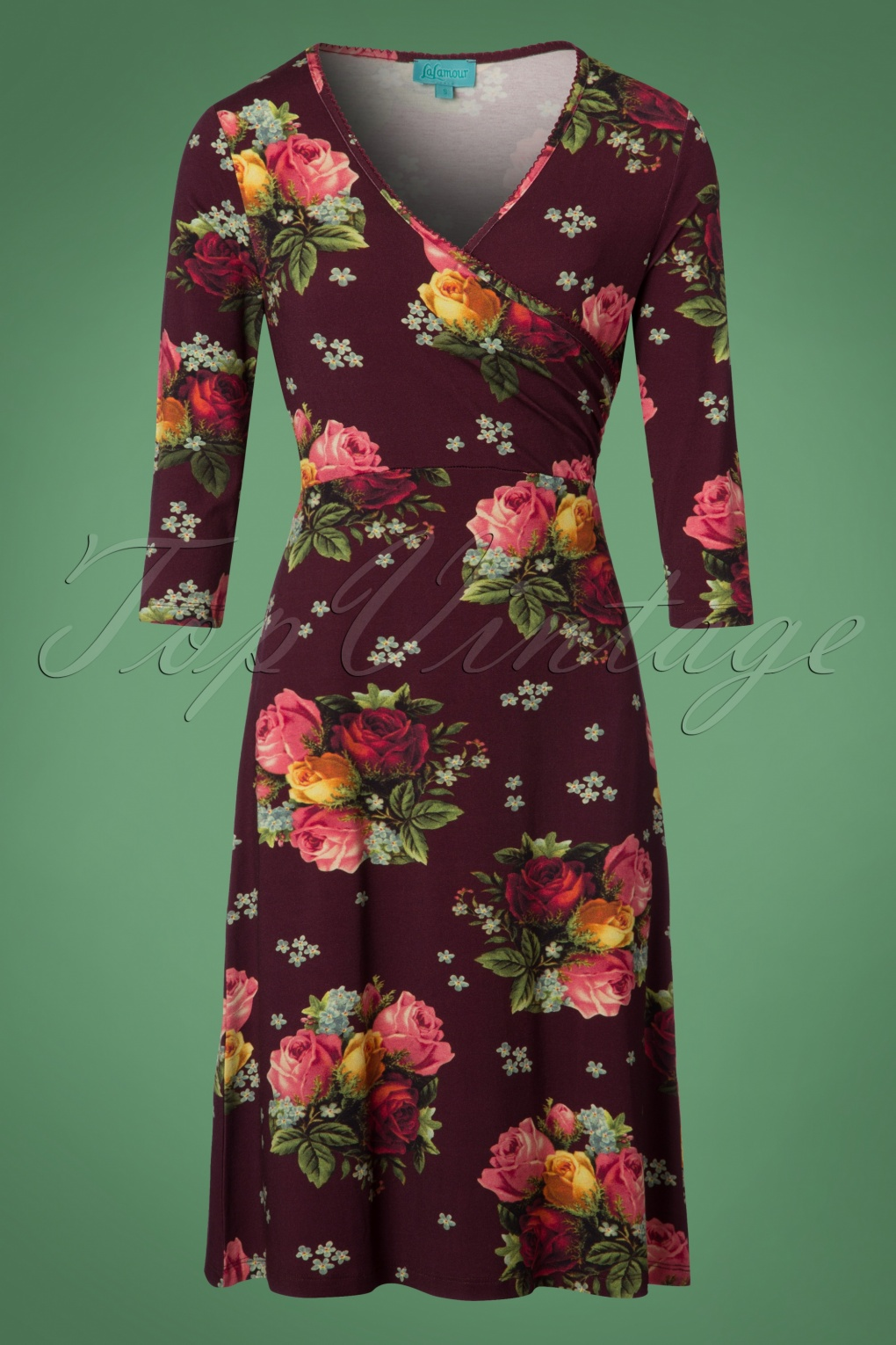 1960s – 70s Dresses- Retro Inspired Fashion 60s Dorothy Cross Dress in Bouquet Aubergine £86.76 AT vintagedancer.com