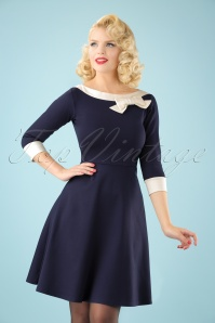 50s Dreamboat Dollie Swing Dress in Navy