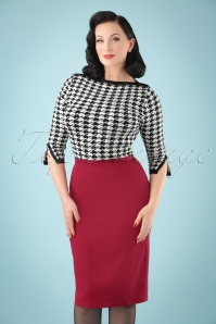 50s Paula Pencil Skirt in Red