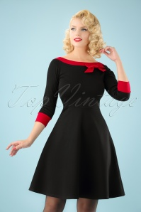 Dreamboat Dollie Swing Dress Années 50 en Noir