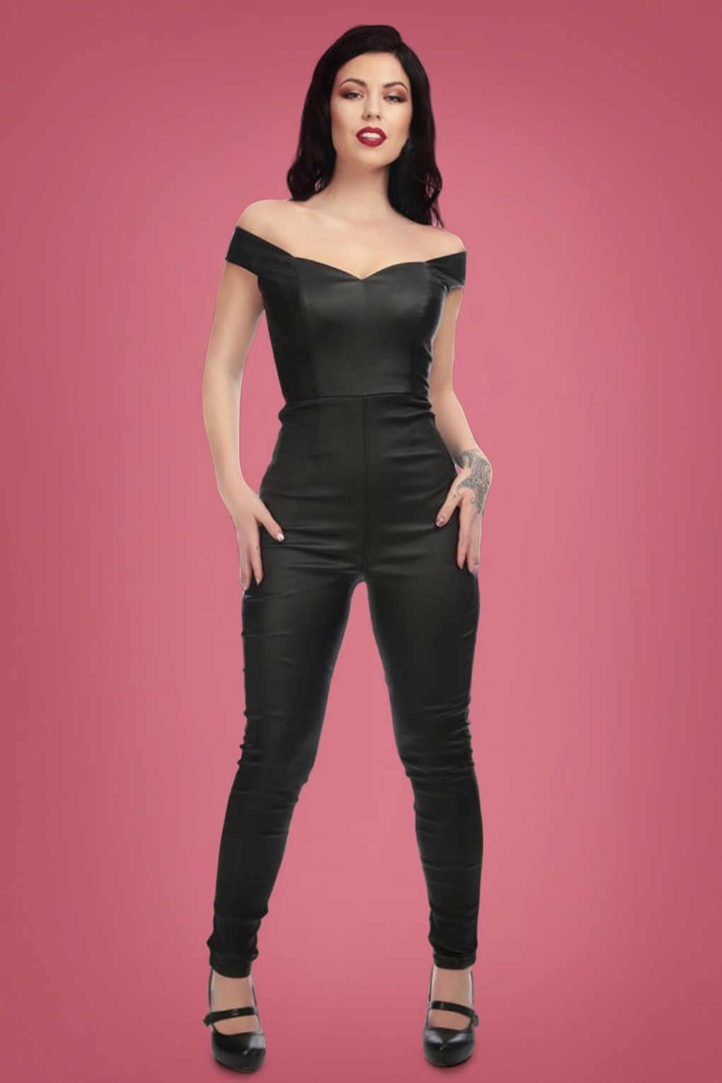 Vintage High Waisted Trousers, Sailor Pants, Jeans 50s Connie Leather Look Jumpsuit in Black £60.19 AT vintagedancer.com