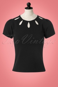 Vintage Chic Scuba Crepe Keyhole Top in Black 113 10 22744 20171009 0008wdoll
