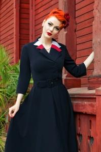 40s Peggy Spy Swing Dress in Navy