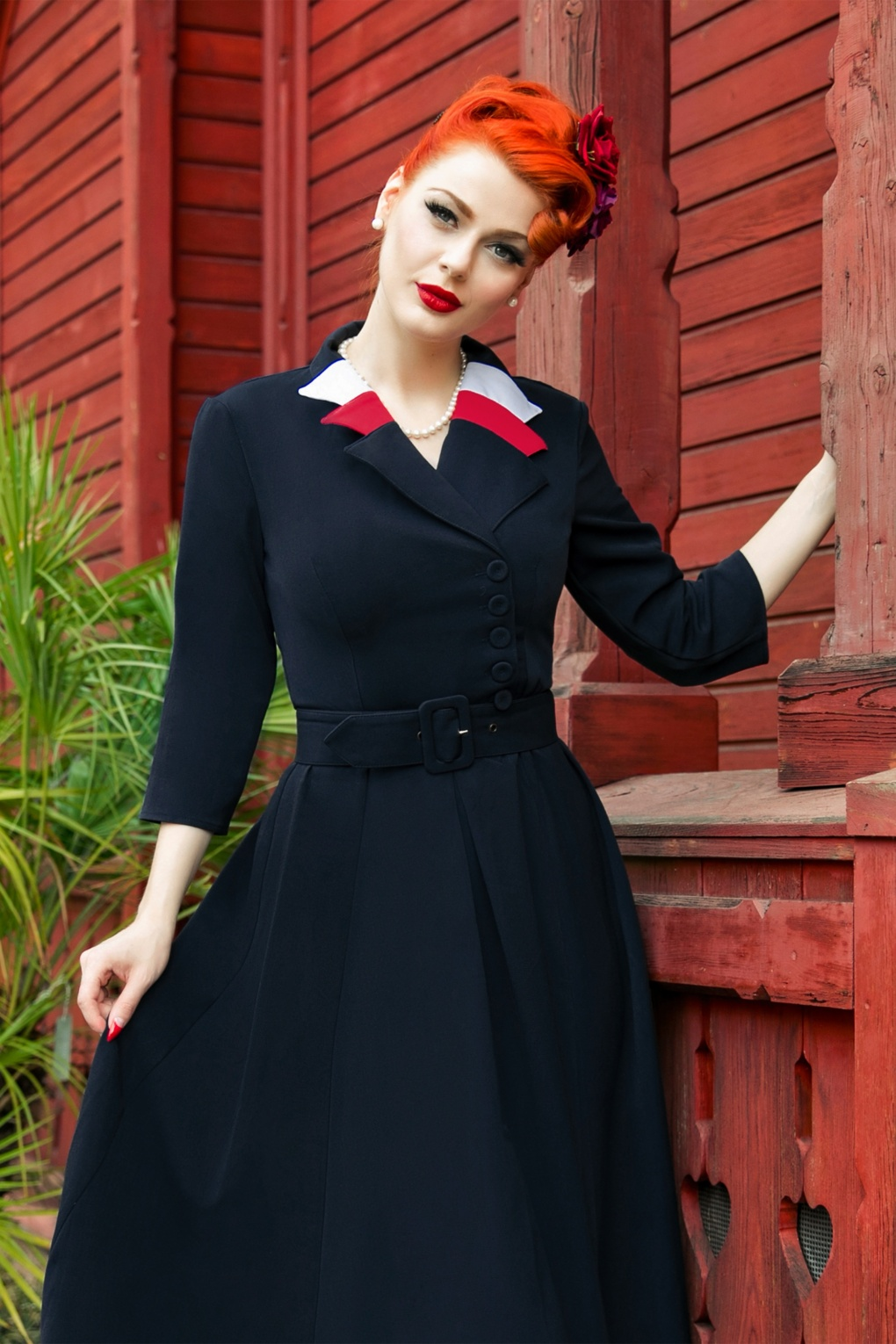 1940s Style Dresses and Clothing 40s Peggy Spy Swing Dress in Navy £102.22 AT vintagedancer.com